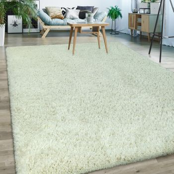 Upcycling Deep Pile Rug Plain Cream