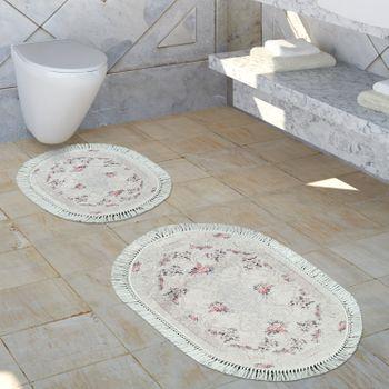 Bathroom Rug Shabby Chic Look Washable Cosy Bath Mat Dusky Pink Cream – Bild 1