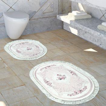 Tapis De Salle De Bain Motif Floral Lavable Confortable Tapis De Bain Vieux Rose Crème – Bild 1