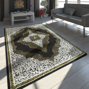 Oriental Rug Modern 3D Effect Ornaments Mottled Grey Gold Black – Bild 1