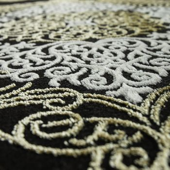 Oriental Rug Modern 3D Effect Ornaments Mottled Grey Gold Black – Bild 3
