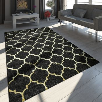 Oriental Rug Modern 3D Effect Moroccan Pattern Black And Gold – Bild 1