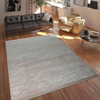 Designer Polyacrylic Rug High-Quality Modern Used Look Abstract 3D Effect Pink – Bild 1