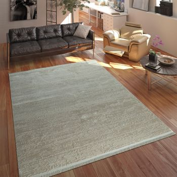 Designer Acrylic Rug High-Quality Modern Used Look Abstract 3D Effect Cream – Bild 1