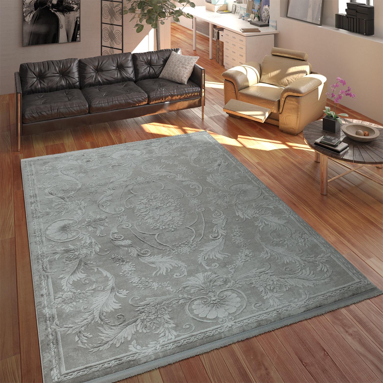 Designer Acryl Teppich Hochwertig Edel Modern Vintage 3D Effekt Floral Grau