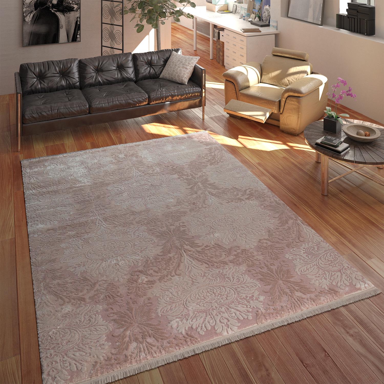 designer acryl teppich hochwertig edel modern barock 3d effekt floral rosa teppiche orient optik. Black Bedroom Furniture Sets. Home Design Ideas
