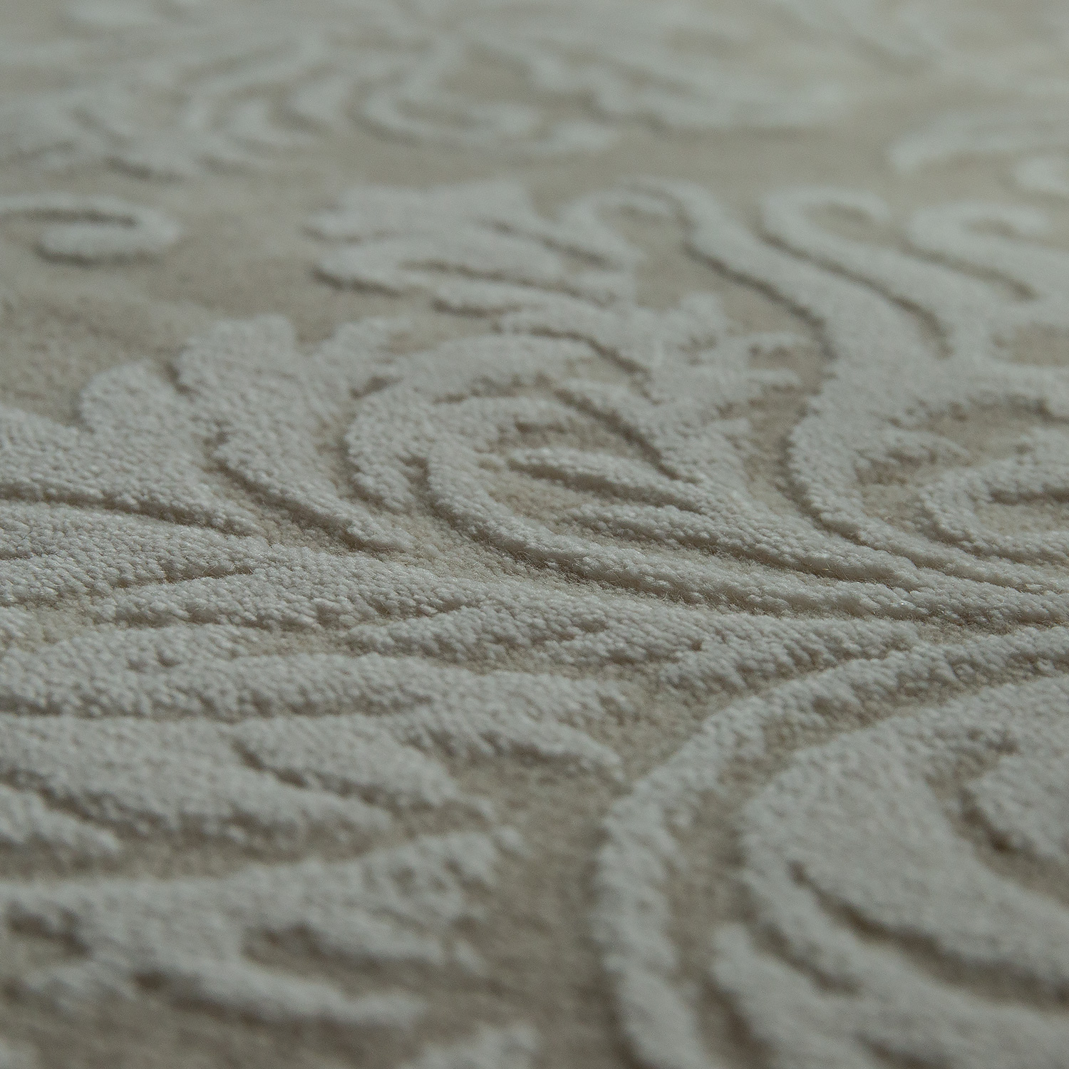 Vintage Effect Rug: Polyacrylic Rug Baroque 3D In Beige