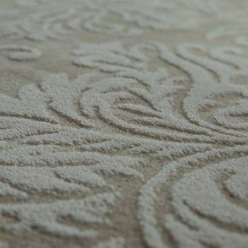 Alfombra Poliacrílica Alta Calidad Noble Moderna Barroca Efecto 3D Floral Beige – Bild 3