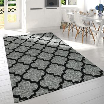 Modern Short Pile Living Room Rug Moroccan Design Mottled Grey Black – Bild 1