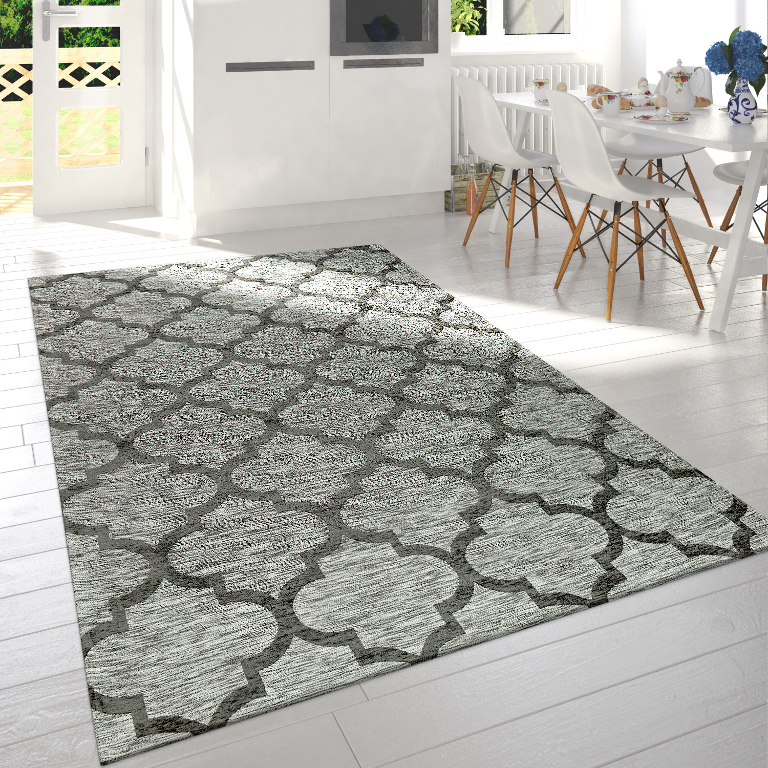 Modern Short Pile Living Room Rug Moroccan Design Mottled In Grey