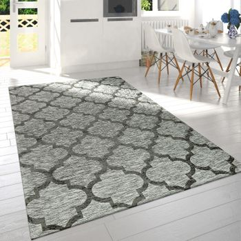 Modern Short Pile Living Room Rug Moroccan Design Mottled In Grey – Bild 1