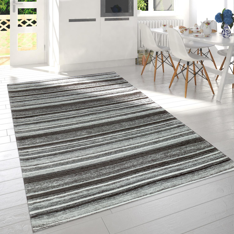 Modern Short Pile Living Room Rug Stripe Design Mottled In Grey White Anthracite