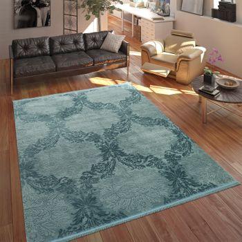 Tapis Polyacrylique Baroque3D Pastel Turquoise