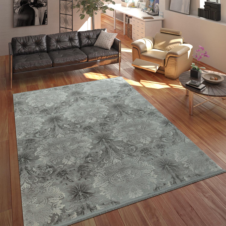 Designer acryl teppich hochwertig edel modern barock 3d effekt floral grau teppiche orient optik - Barock wohnzimmer modern ...