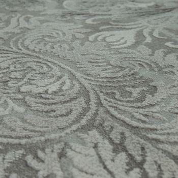 Designer Acryl Teppich Hochwertig Edel Modern Barock 3D Effekt Floral Grau – Bild 3