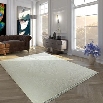 Vintage Polyacrylic Rug Border Pattern High-Quality Classic Fringes Cream White – Bild 1
