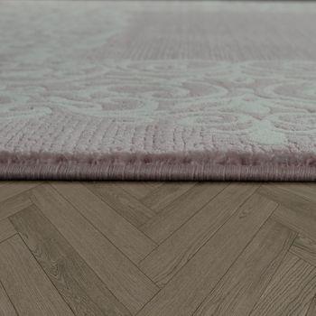 Vintage Poliacrilico Tappeto Floreale Motivo Pregiato Moderno Frange Pastello Rosa – Bild 2
