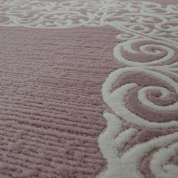 Vintage Poliacrilico Tappeto Floreale Motivo Pregiato Moderno Frange Pastello Rosa – Bild 3