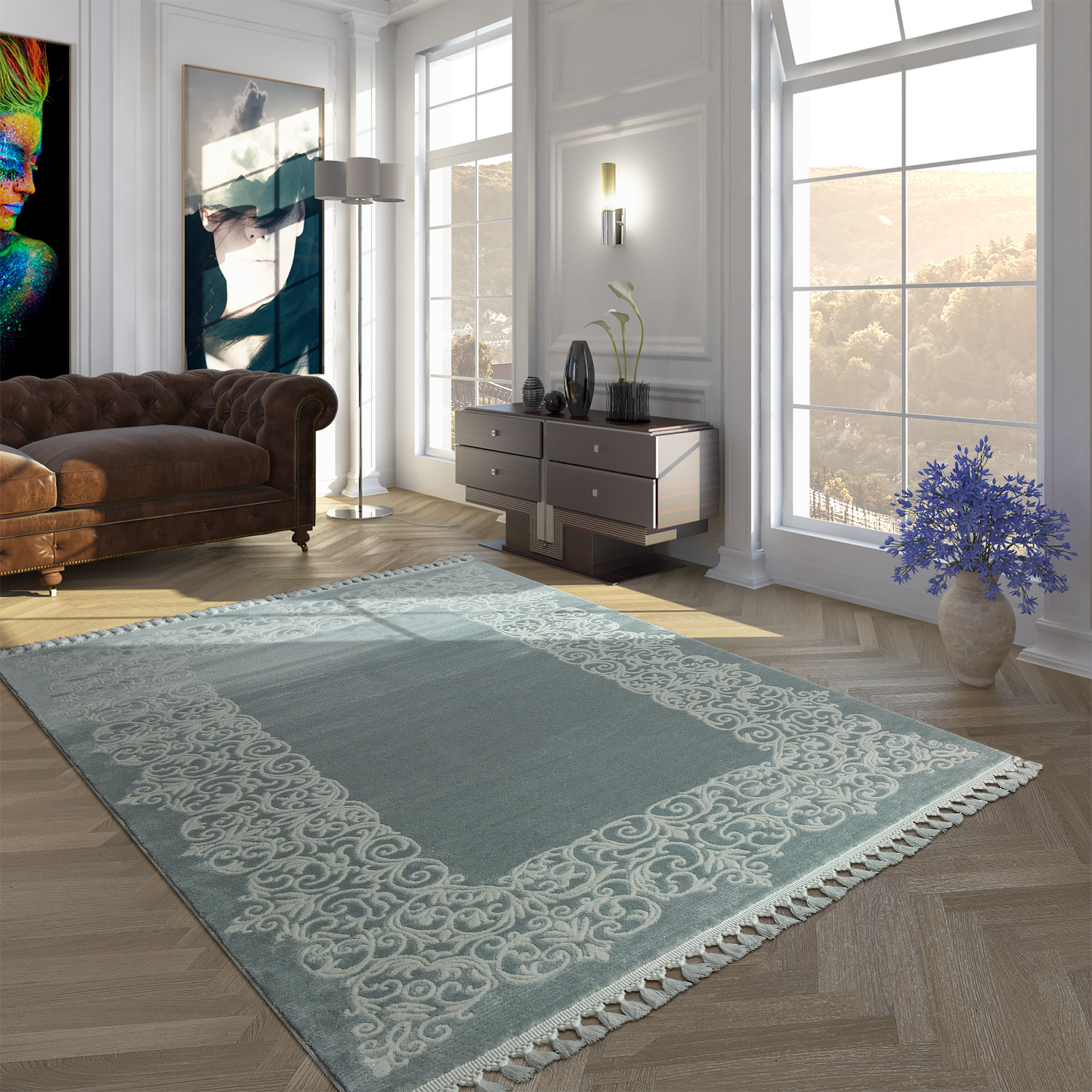 Vintage Polyacrylic Rug Floral Pattern High-Quality Modern Fringes Pastel Turquoise