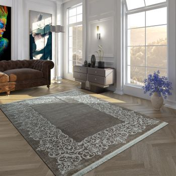 Vintage Acrylic Rug Floral Pattern High-Quality Modern With Fringes In Brown White – Bild 1