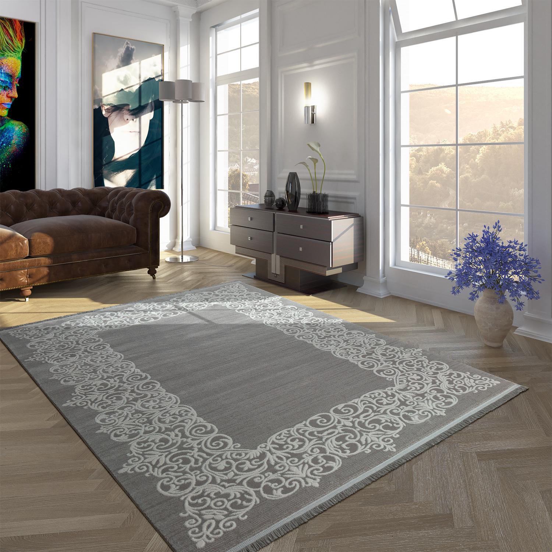 Vintage Acryl Teppich Florale Muster Hochwertig Modern Mit Fransen In Grau Weiß