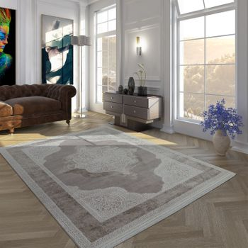 Vintage Polyacrylic Rug Baroque Pattern High-Quality Modern Fringes Cream Beige – Bild 1