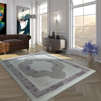 Vintage Polyacrylic Rug Baroque Pattern High-Quality Modern Fringes Pastel Purple White – Bild 1