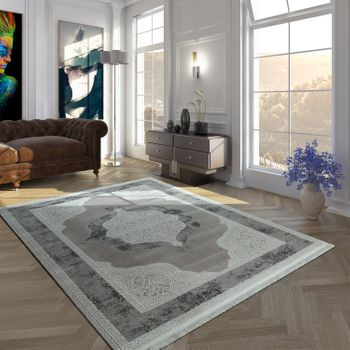 Vintage Polyacrylic Rug Baroque Pattern High-Quality Modern Fringes Grey Cream – Bild 1