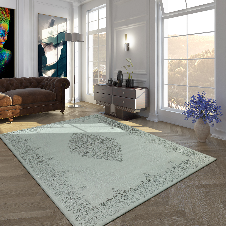 Acryl Teppich Modern Barock Silber Grau