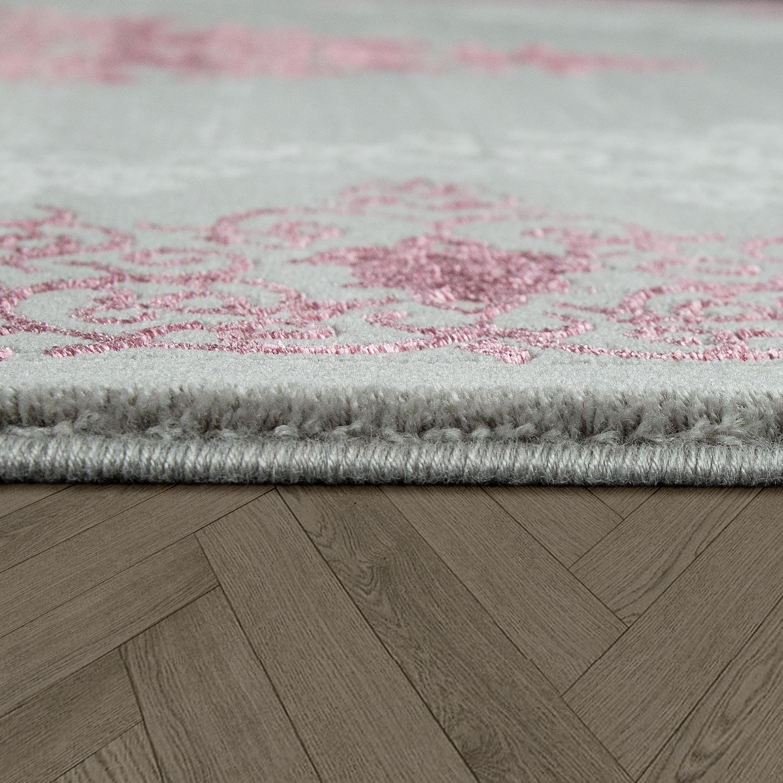 Polyacryl Teppich Modern Barock Grau Rosa Teppichcenter24