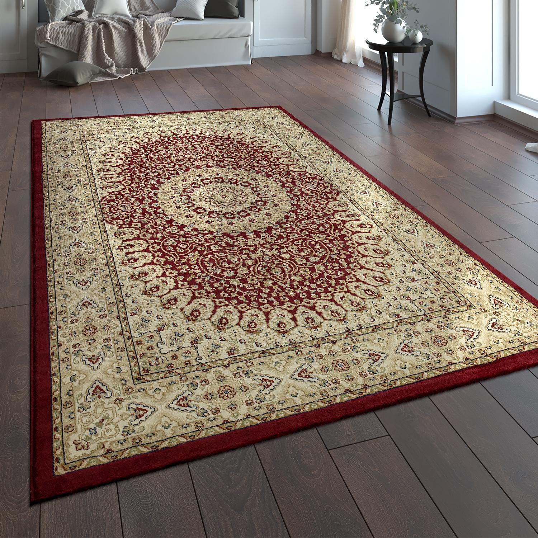 Alfombra oriental tradicional cl sica dise o con ornamentos persas beige rojo alfombras ptica - Alfombra beige ...