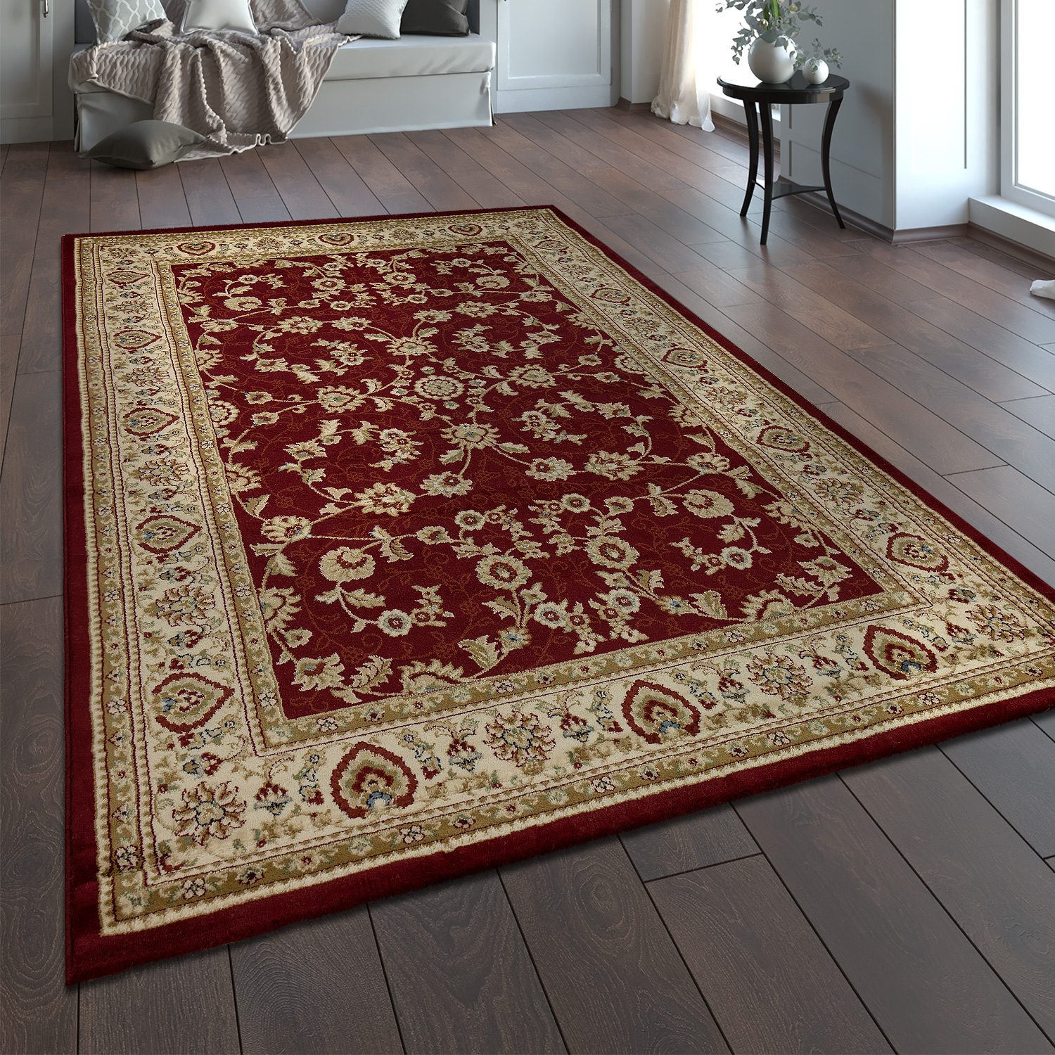 Oriental Rug Traditional Classic Look Persian Ornaments Floral Red Beige Cream