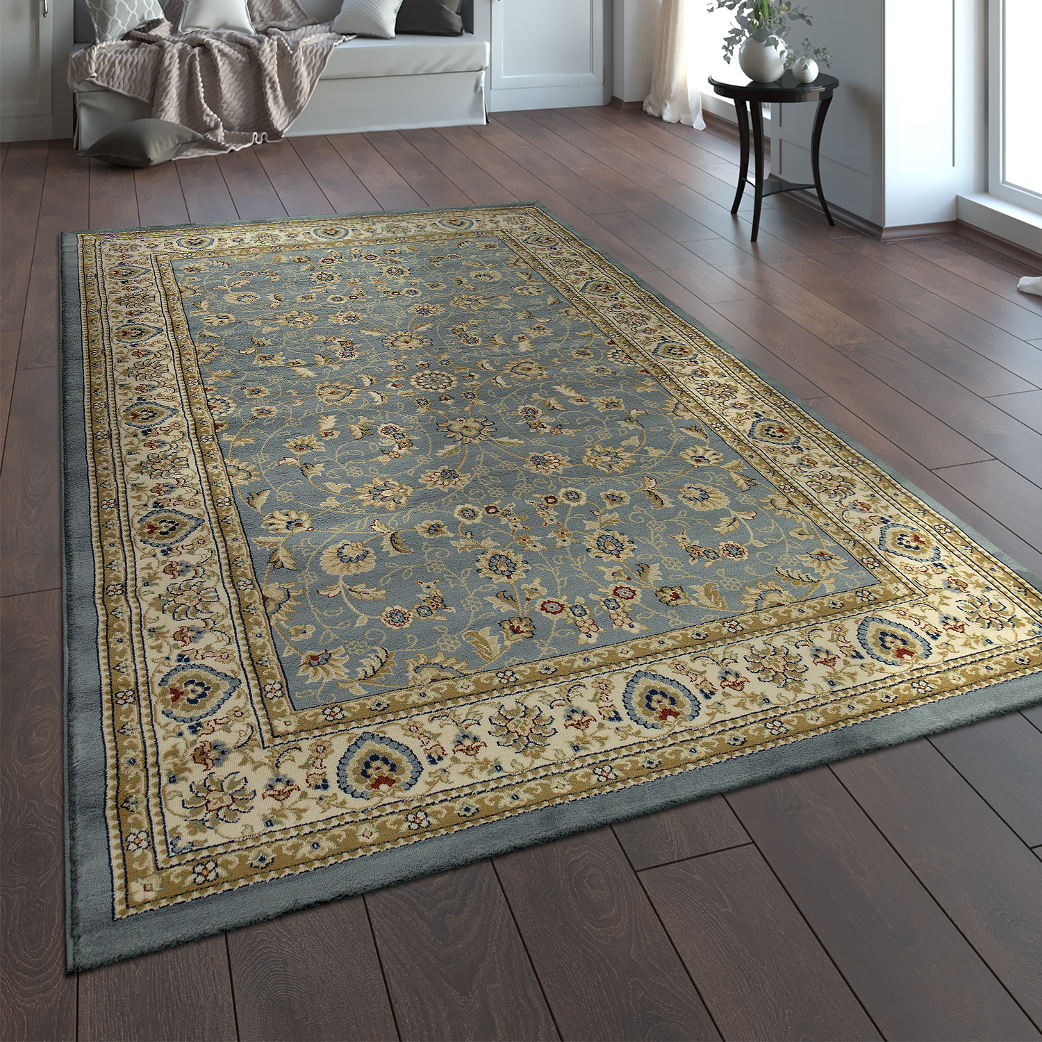 tapis oriental traditionnel classique aspect persan floral gris bleu cr me tapis optique orientale. Black Bedroom Furniture Sets. Home Design Ideas