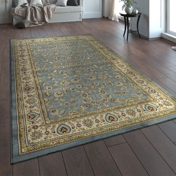Oriental Rug Traditional Pattern Floral Grey Blue