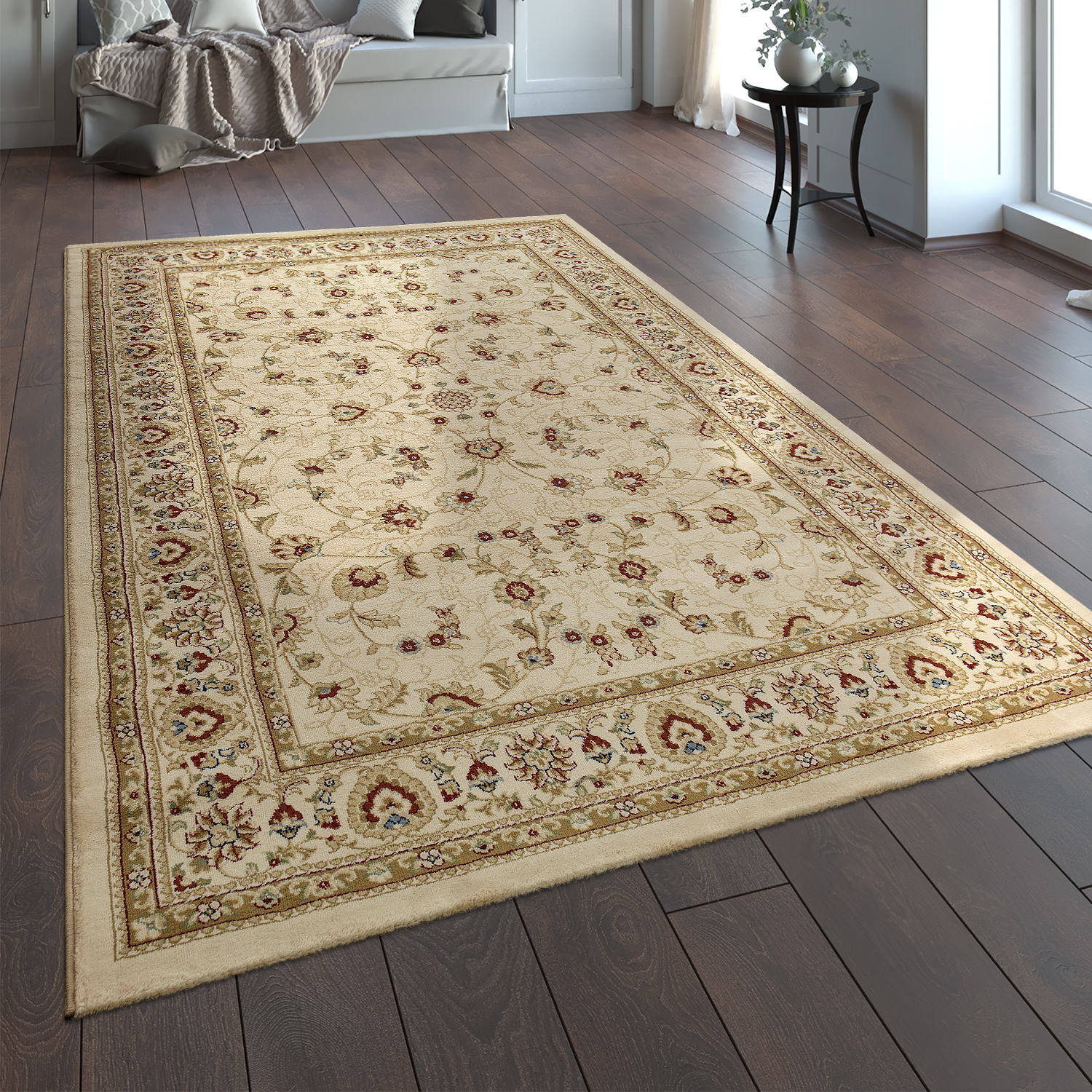 Oriental Rug Traditional Classic Look Persian Floral Cream Red