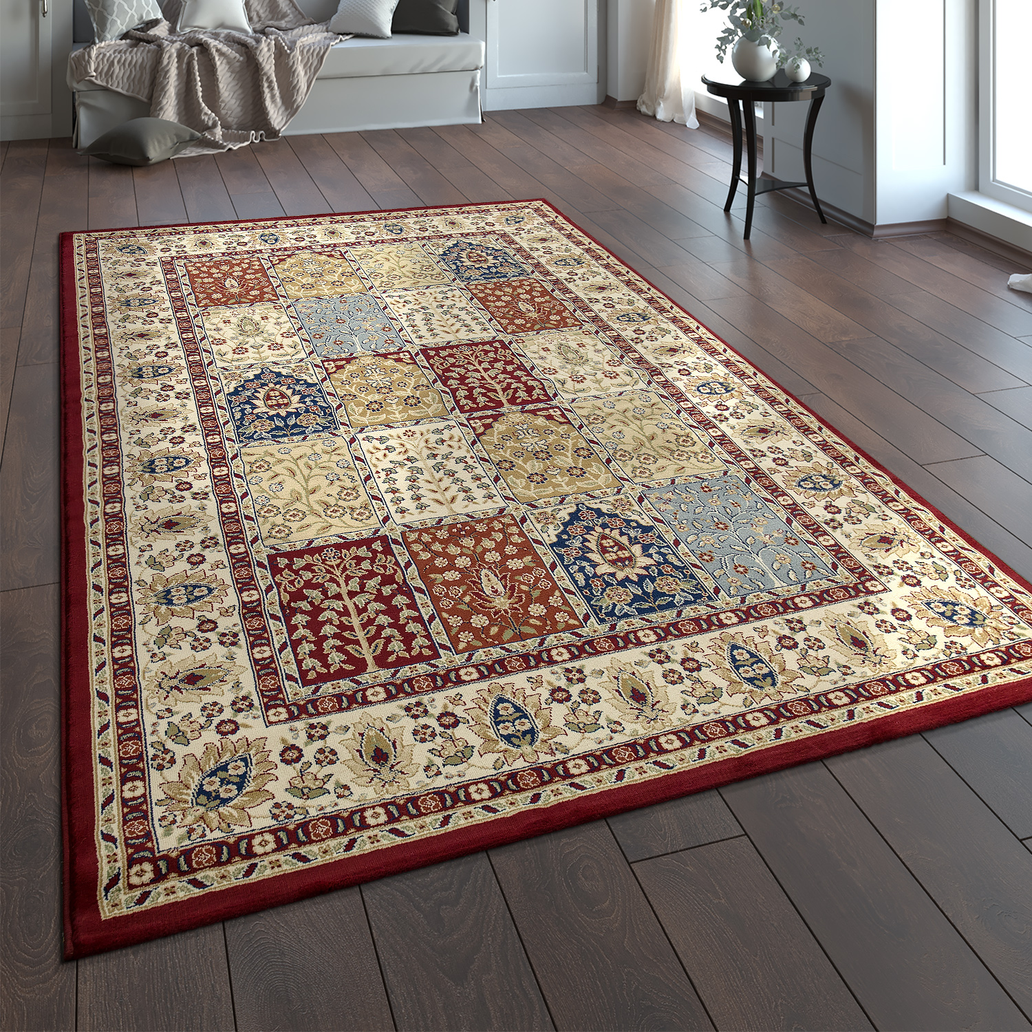 tapis oriental traditionnel persan aspect bordure d corations rouge bleu beige cr me tapis. Black Bedroom Furniture Sets. Home Design Ideas