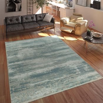 Living Room Rug Acrylic Yarn Shabby Chic Look Fringes 3D Effect Pastel Blue Grey – Bild 1
