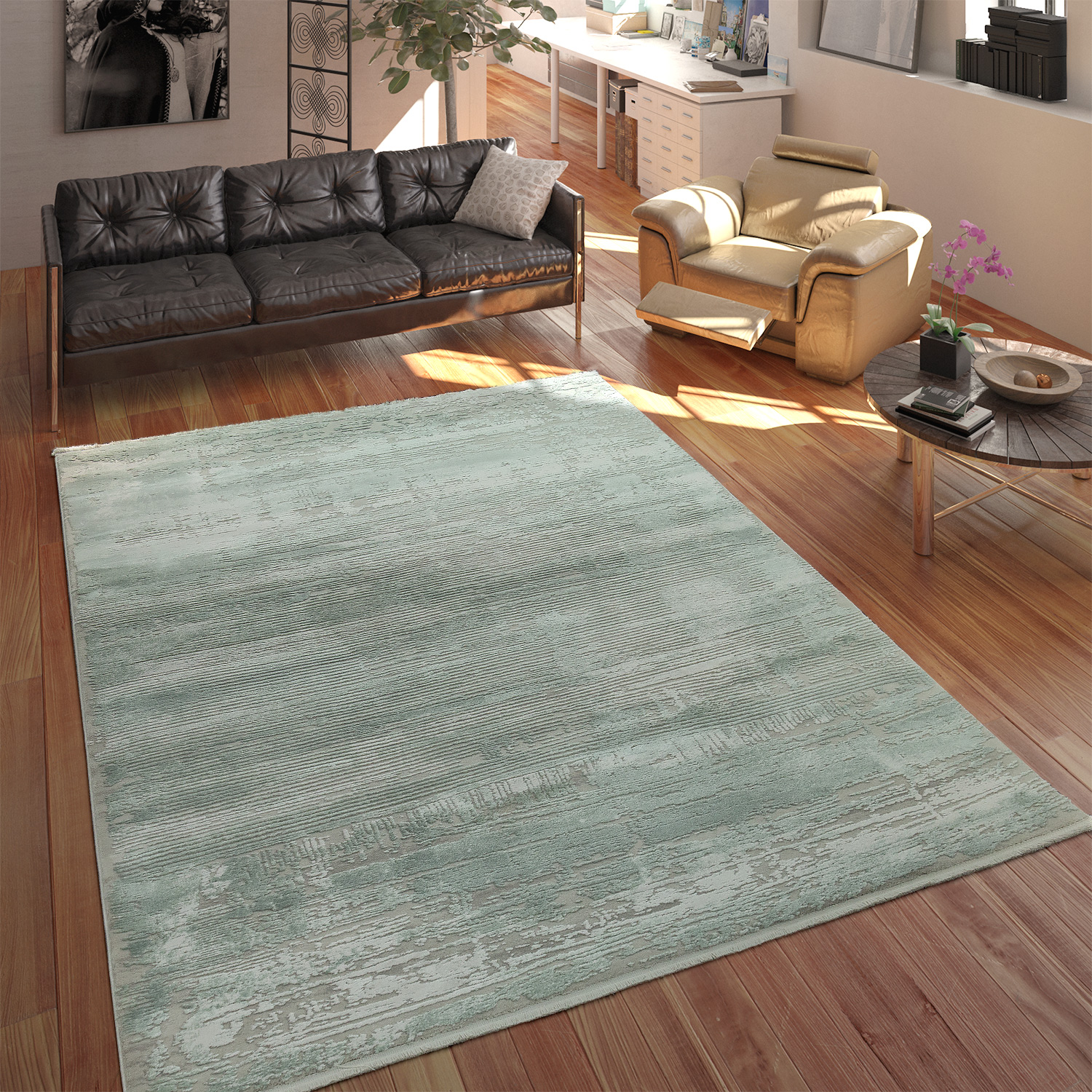 tapis salon acrylique look shabby chic franges effet 3d vert menthe gris tapis tapis vintage. Black Bedroom Furniture Sets. Home Design Ideas