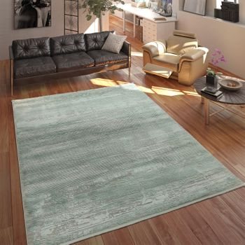 Living Room Rug Acrylic Yarn Shabby Chic Look Fringes 3D Effect Mint Green Grey – Bild 1