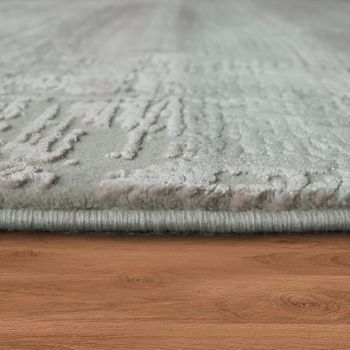 Living Room Rug Polyacrylic Yarn Shabby Chic Look Fringes 3D Effect Pastel Blue Grey – Bild 2