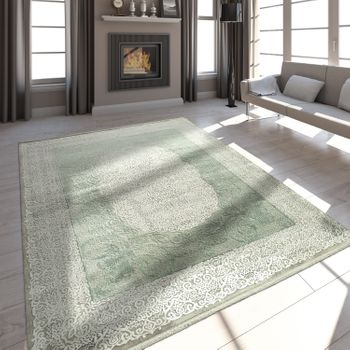 Living Room Rug Polyacrylic Yarn Vintage Look Fringes 3D Classic Mint Green – Bild 1