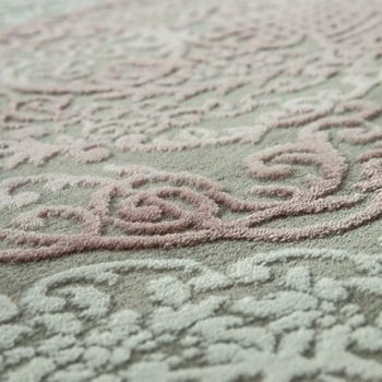Living Room Rug Polyacrylic Yarn Vintage Look Fringes 3D Classic Pastel Pink Grey – Bild 3