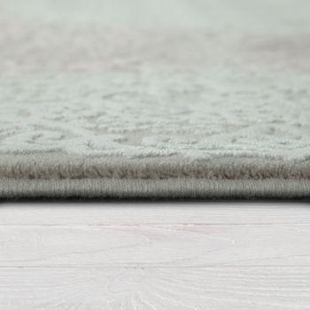 Wohnzimmer Teppich Acrylgarn Vintage Look Fransen 3D Klassisch Pastell Rosa Grau – Bild 2