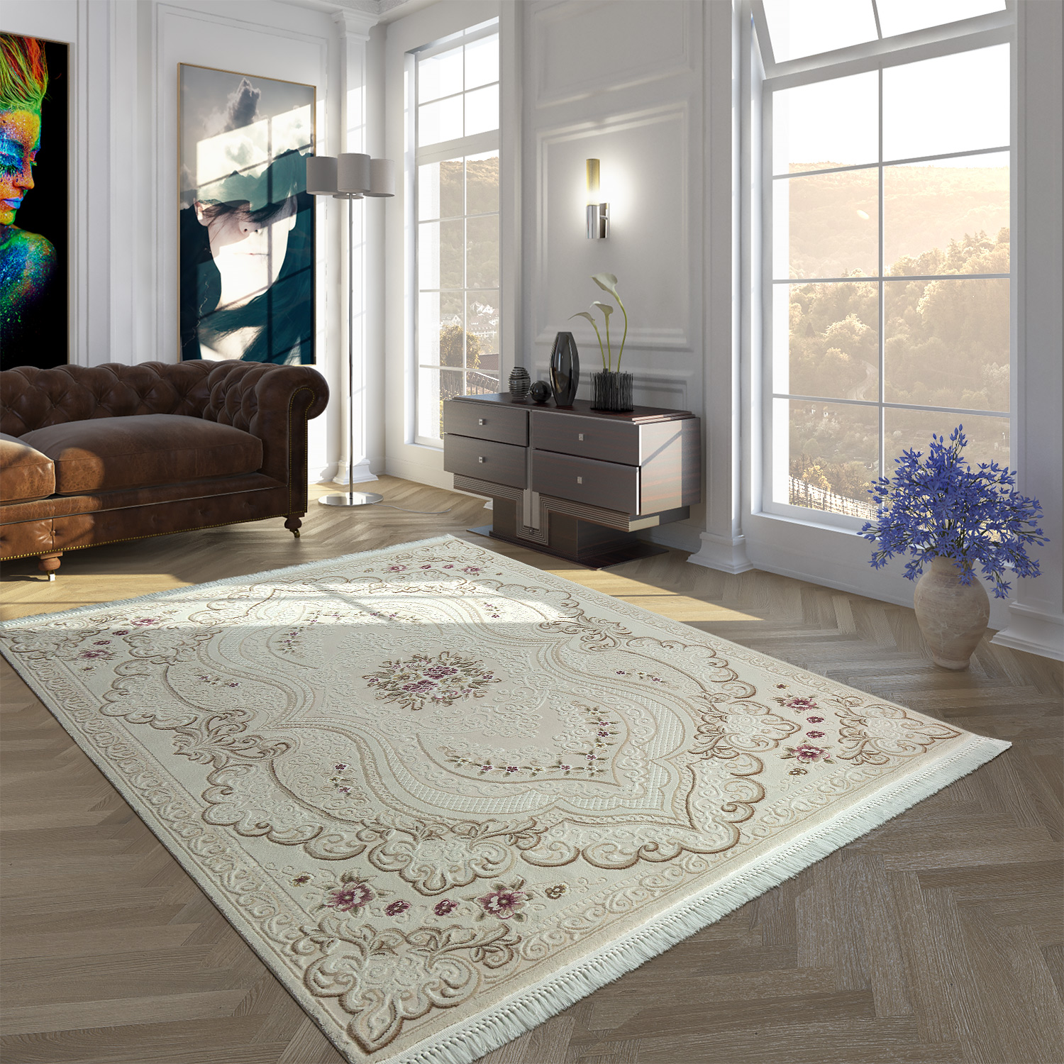 Polyacrylic Rug Short Pile High-Quality Classic Floral Vintage Fringes Cream Purple