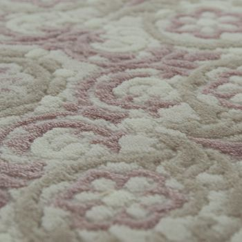 Acrylic Rug Short Pile High-Quality Classic Oriental Look Fringes Cream Pink – Bild 3
