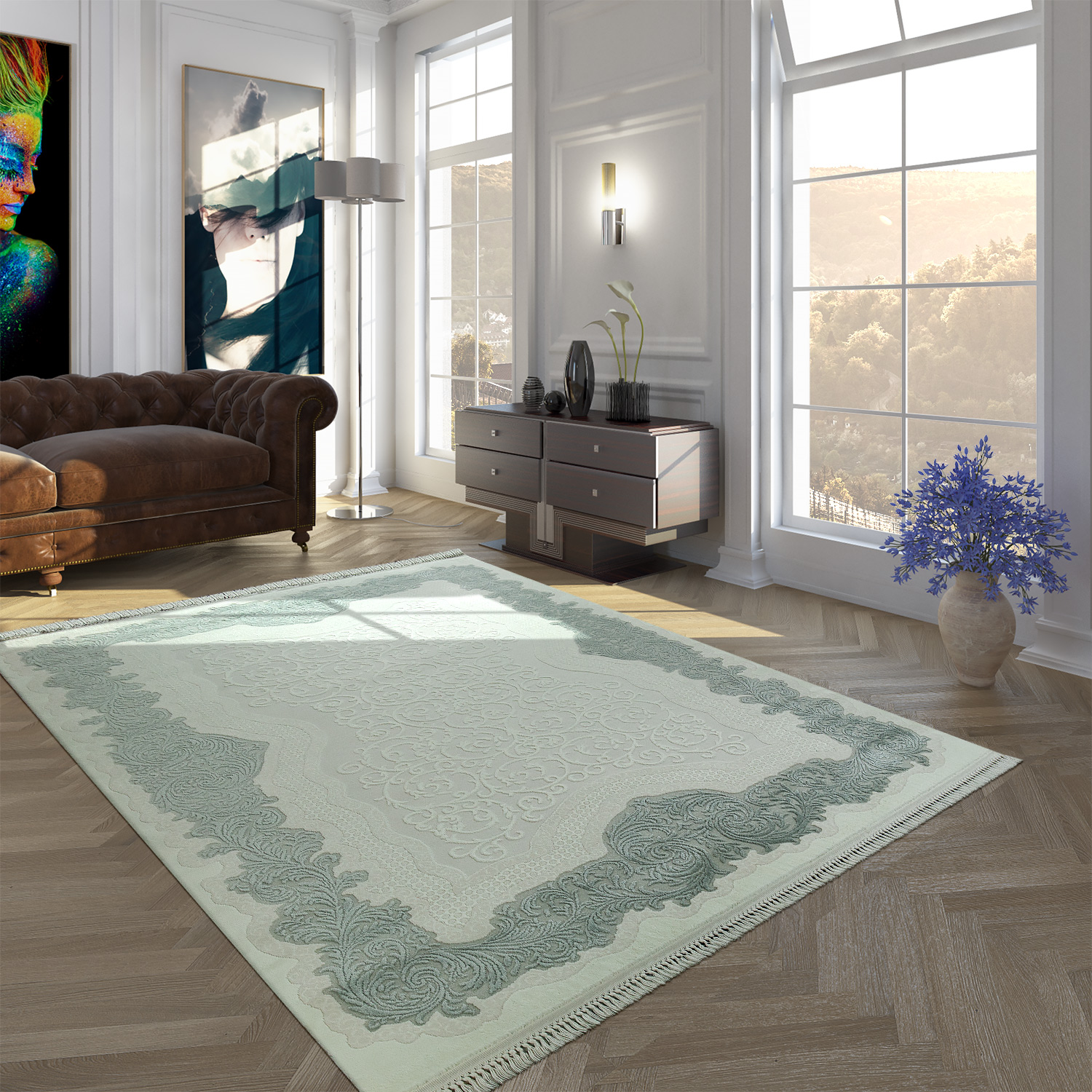 Polyacrylic Rug Short Pile High-Quality Classic Border Fringes Floral Cream Blue