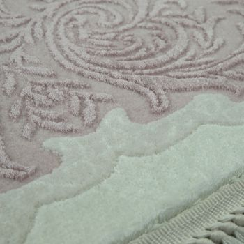 Acrylic Rug Short Pile High-Quality Classic Border Fringes Floral Cream Pink – Bild 3