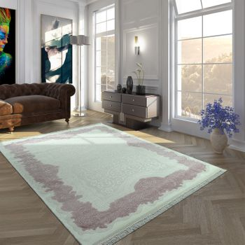 Acrylic Rug Short Pile High-Quality Classic Border Fringes Floral Cream Pink – Bild 1