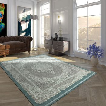 Polyacrylic Rug Short Pile High-Quality Oriental Look Ornaments Fringes Light Blue White – Bild 1