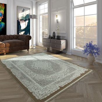 Polyacrylic Rug Short Pile High-Quality Oriental Look Ornaments Fringes Beige Cream – Bild 1